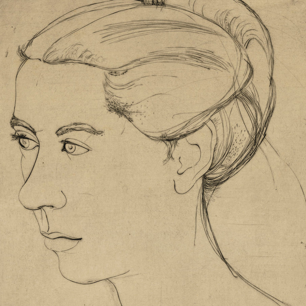 John Kacere - Portrait of Joan - Studio Print - etching - profile sketch - detail