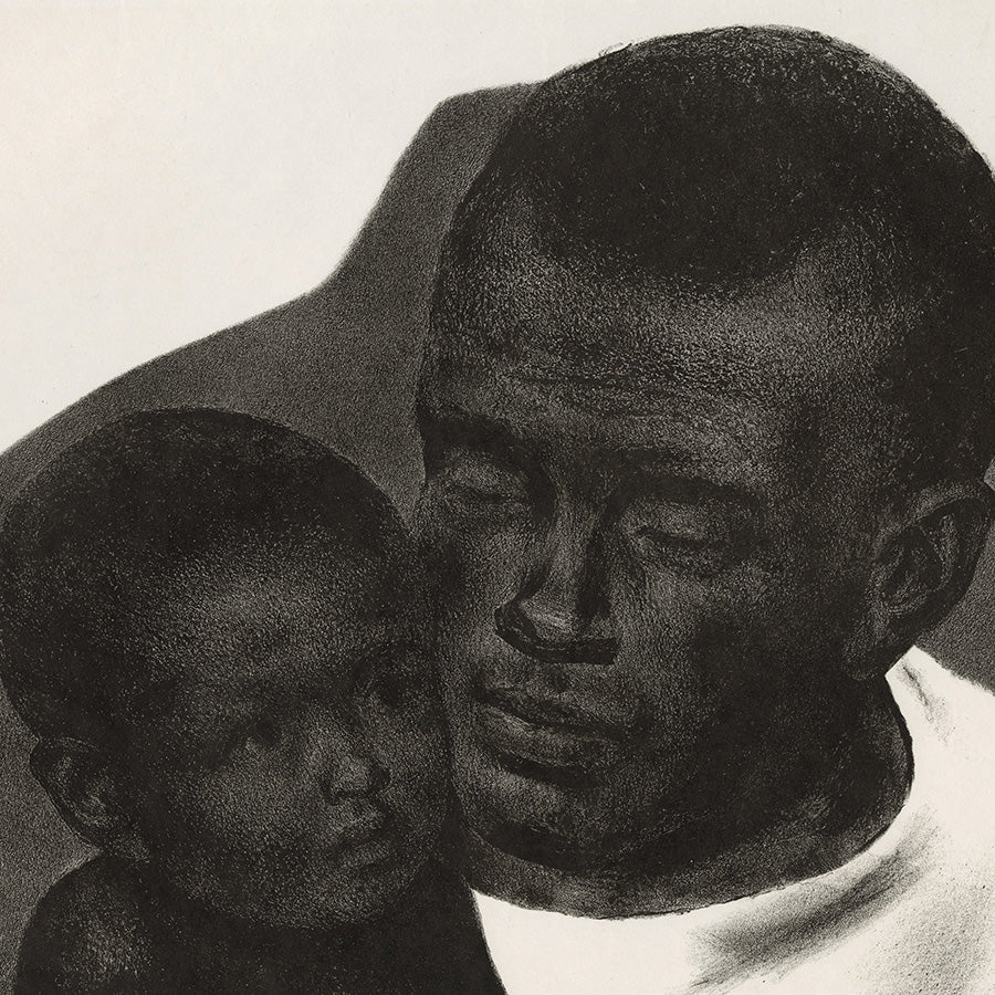 Joseph Hirsch - Father and Son - lithograph - African-American portrait 1945 - detail