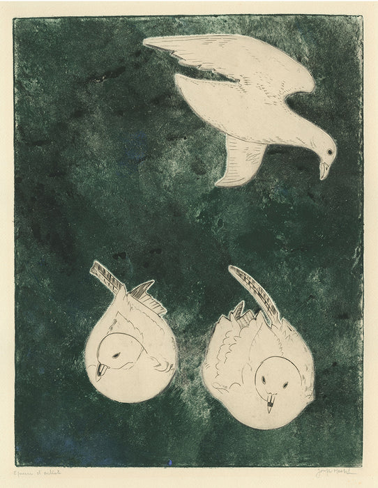 Joseph Hecht - Three Birds on a Green Background II - main