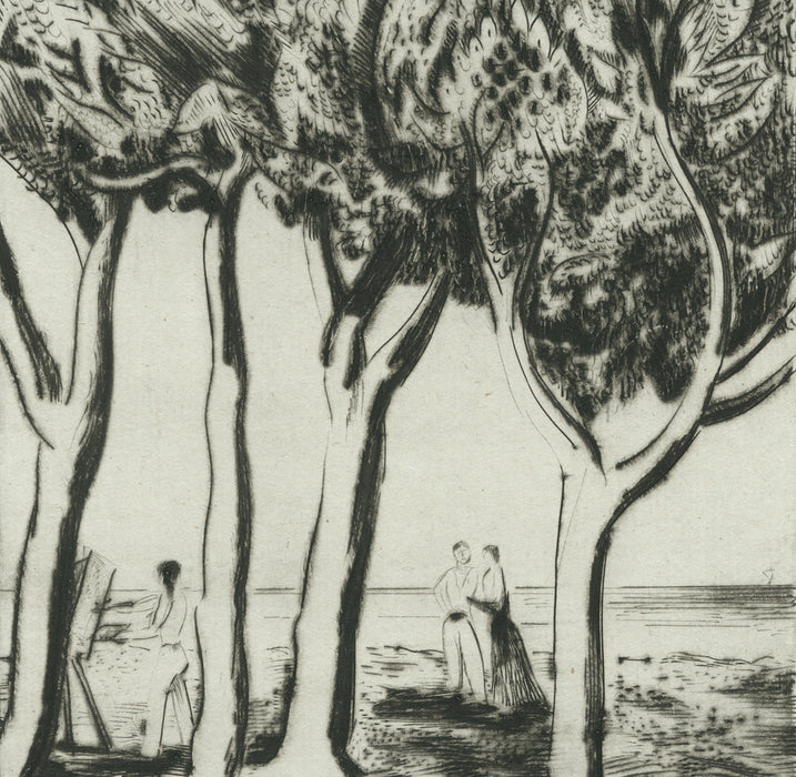 Joseph Hecht - Le Peintre - The Painter - drypoint - detail