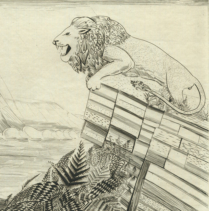 Joseph Hecht - Lion a la Chasse - Lion Hunting - Gazelle - engraving