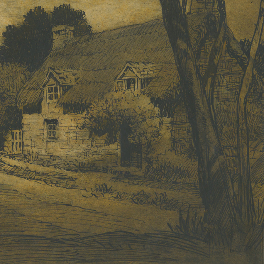 Jules André SMITH (1880-1959) Old World Country Cottages Pen and ink wash on wove paper, circa 1905-10.