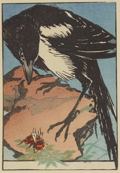 Color woodcut - by CHADEL, Jules - titled: The Magpie