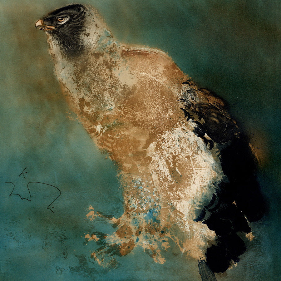 Kaiko Moti - Aiglon - Eaglet - eagle chick - aigle - color viscosity - atelier 17 - simultaneous color printing - detail