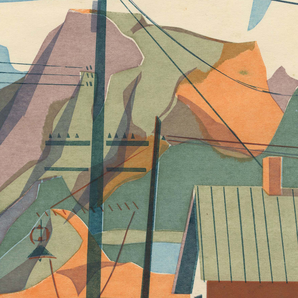 Kathryn Fulwider - Company Town - color silkscreen - street scene with mountain background