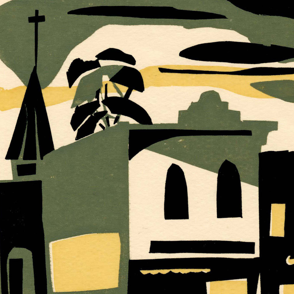 Kathryn Fulwider - Evening Patterns - color screenprint - abstracted green yellow buildings small town