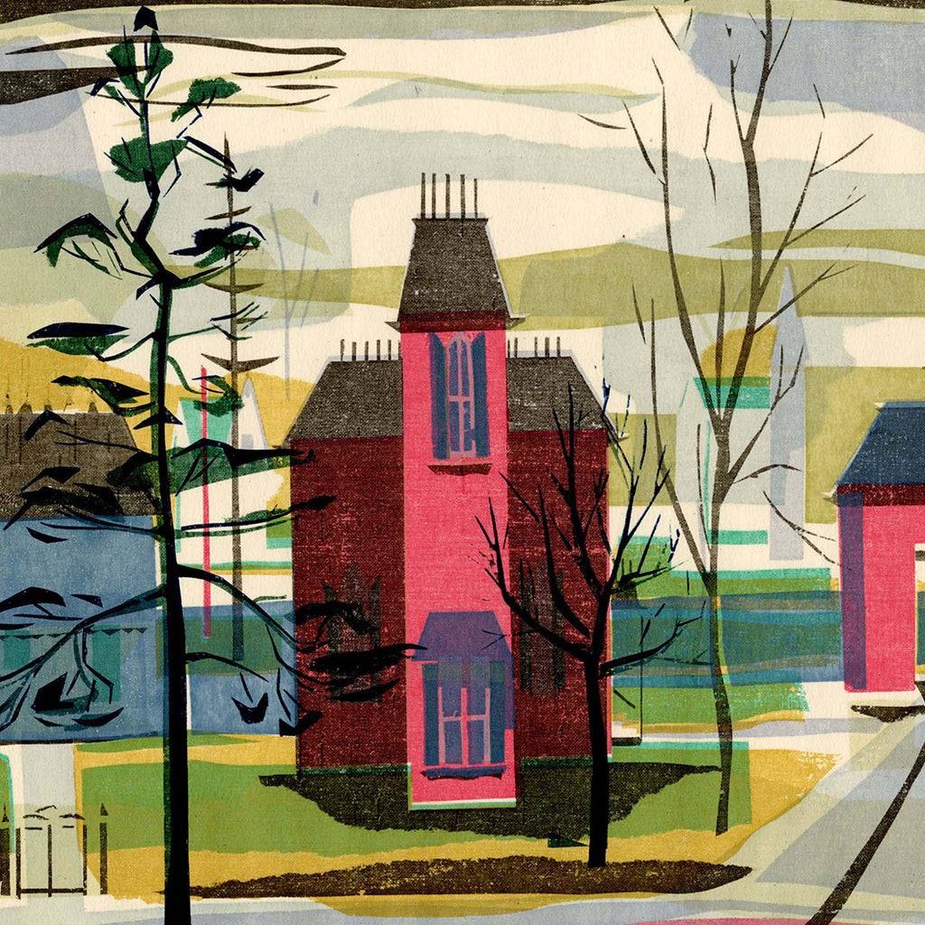 Kathryn Fulwider - Oxford Ohio - color screenprint - suburban homes on a street