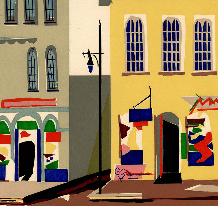 Kathryn Fulwider - Store Fronts - color screenprint - street scene with shops