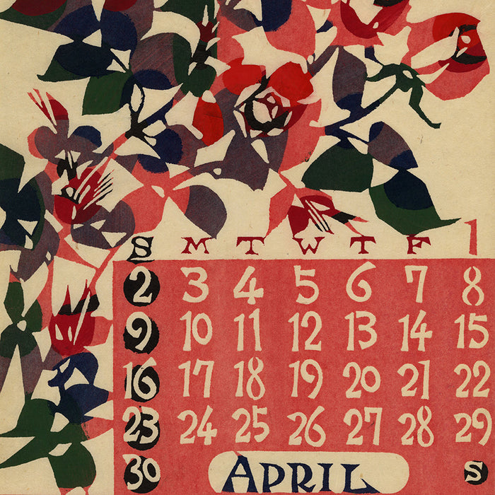 Keisuke Serizawa - 芹沢 銈介 - 1967 calendar - April - katazome stencil - detail