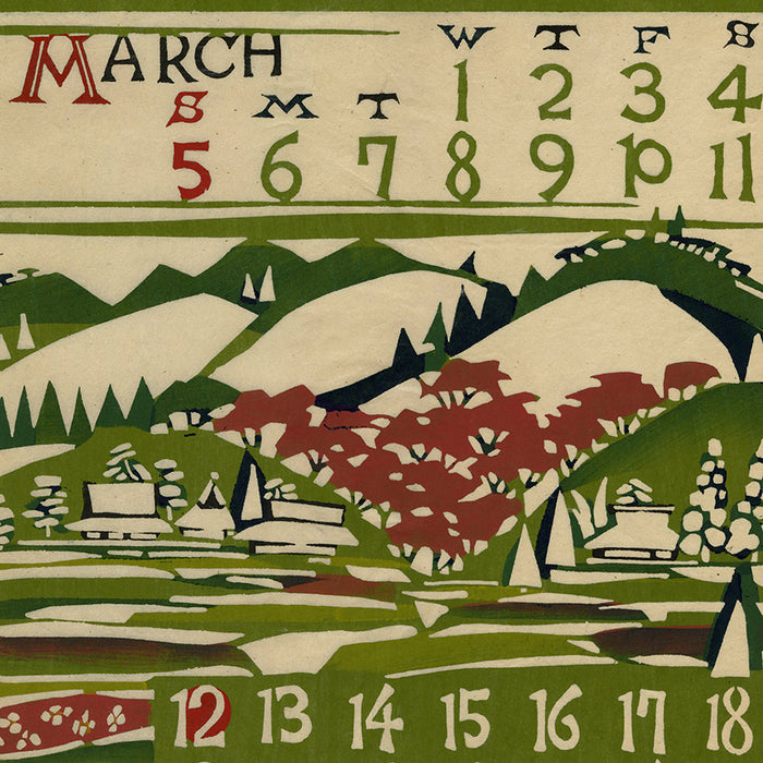 Keisuke Serizawa - 芹沢 銈介 - 1967 calendar - March - katazome stencil - detail