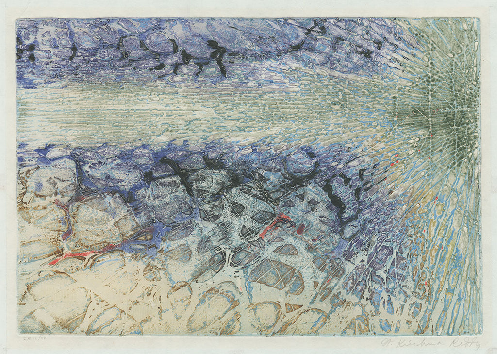 Krishna Reddy - Flight - Atelier 17 - simultaneous color printing - viscocity intaglio - abstract energy