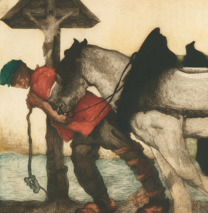 Color etching - by LANGASKENS, Maurice - titled: The Calvary