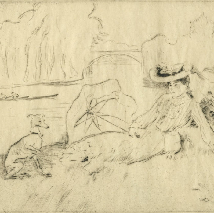Drypoint - by LEGRAND, Louis - titled: Along the Marne River