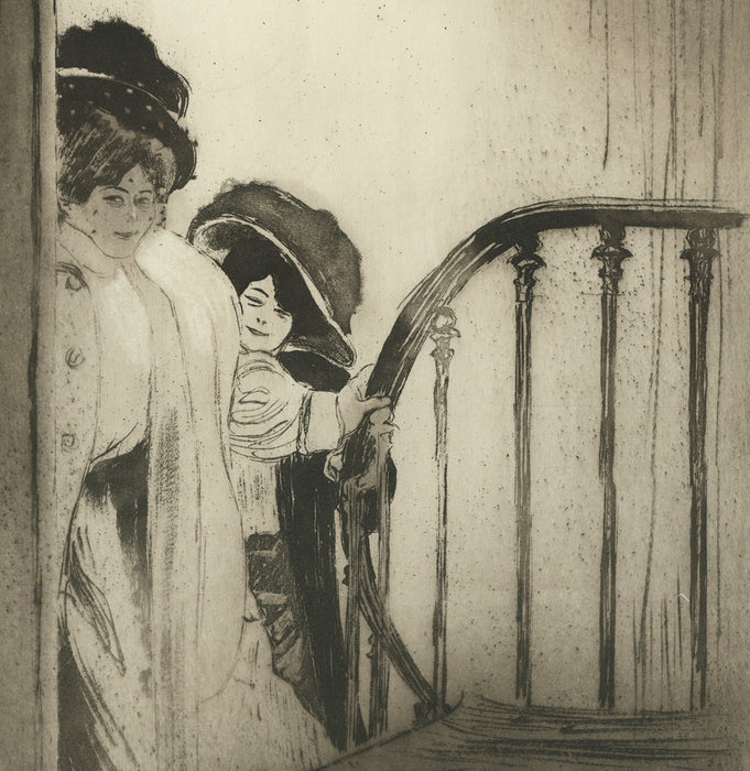 Etching and aquatint - by LEGRAND, Louis - titled: Two Students of Mrs. S