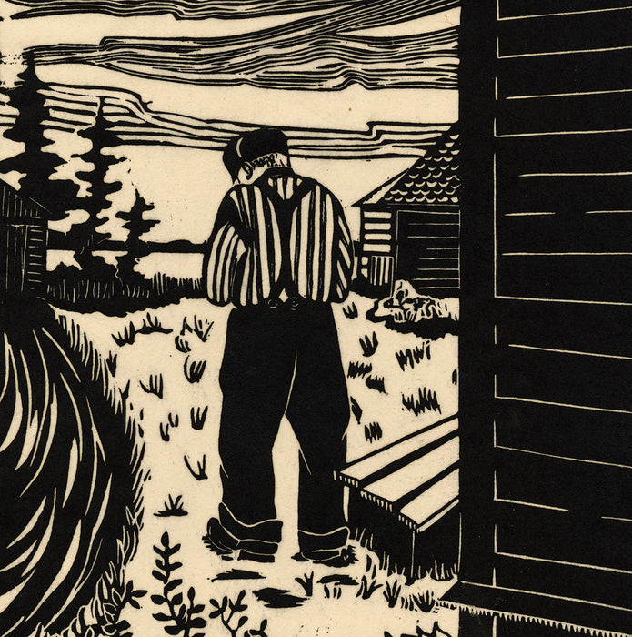 Lillian Hall - Old Eli - Linocut - back of old man at farm property