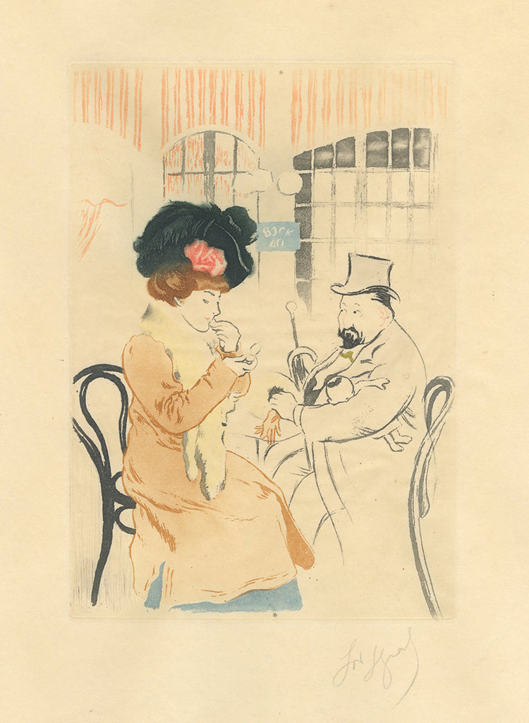 Louis Legrand - Une Poire - A Sucker - color aquatint