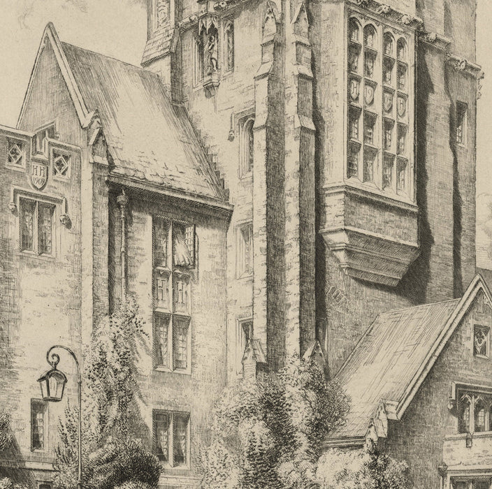 Louis Orr - Princeton University Henry Hall - etching - architecture New Jersey