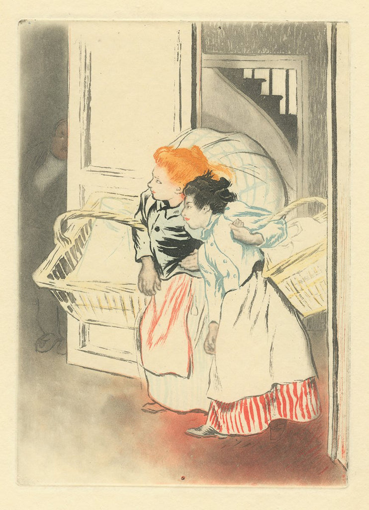 Louis Legrand - Les Blanchisseuses - color aquatint etching - belle epoque - redhead - washer women