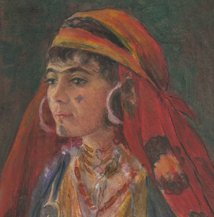 Watercolor - by McCLELLAN POTTER, Louis - titled: Berber Bride
