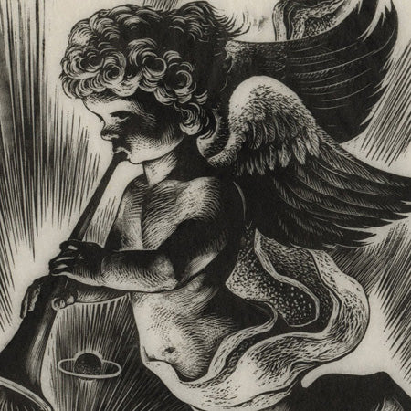 Lynd Ward - Herald Angel sounds the trumpet - wood engraving - detail