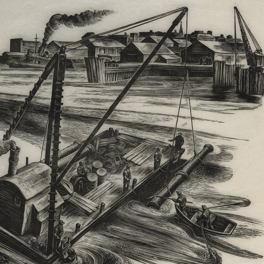 Lynd Ward - Laying of submerged river pipeline from a barge - wood engraving - detail
