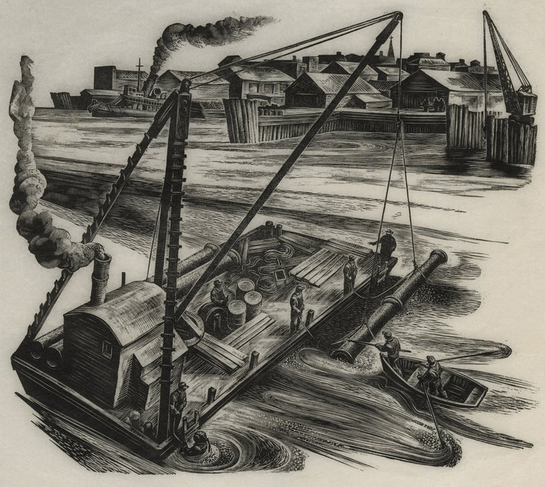 Lynd Ward - Men Laying Underwater Pipes from a River Barge - main