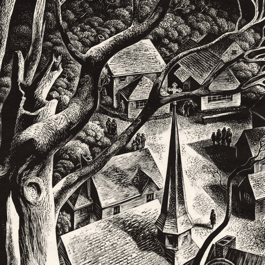 Lynd Ward - Undercliff - village church steeple - detail