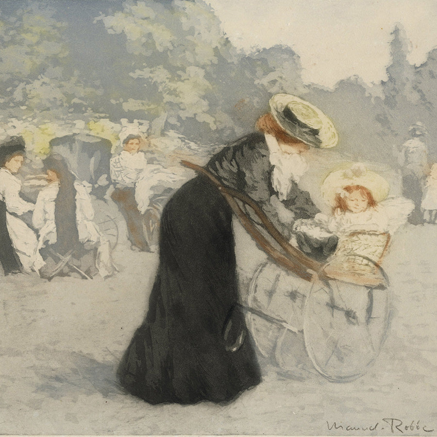 Manuel Robbe - Le Jardin des Tuileries - Nanny mother taking care of baby in carriage - detail