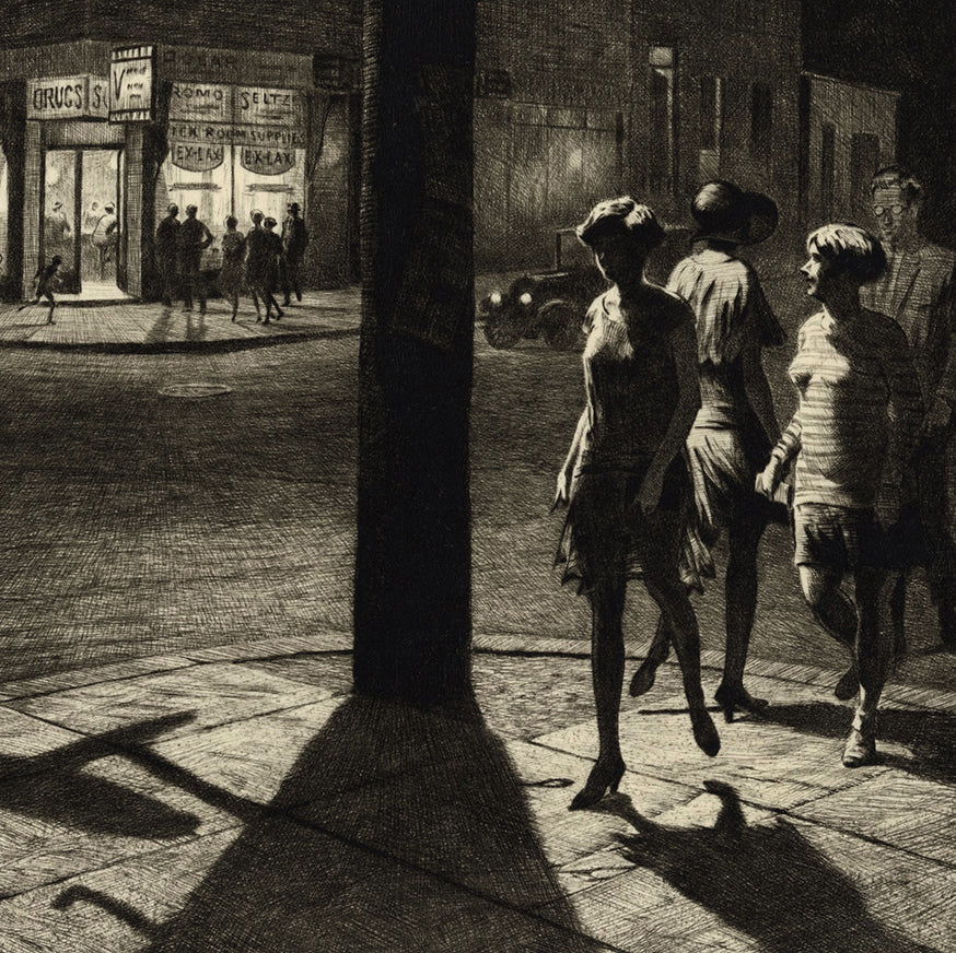 Martin Lewis - Corner Shadows - black and white intaglio - people on the street at night