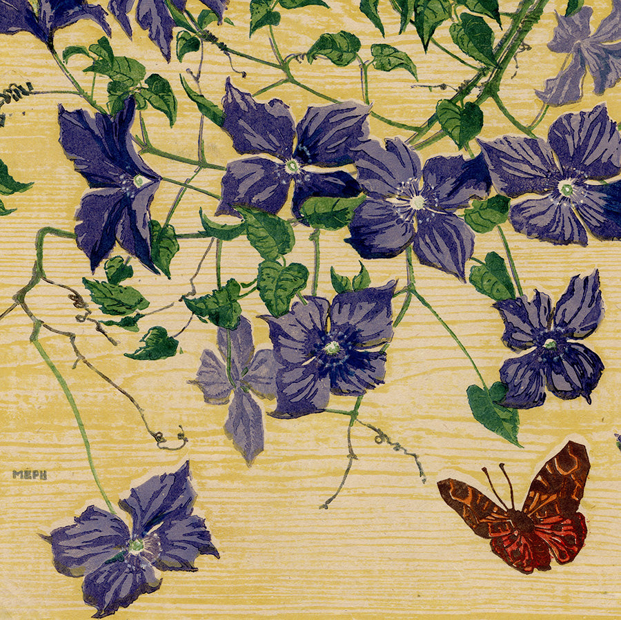 Martin Erich Philipp - Clematis - color woodcut water based - mokuhanga - butterfly - detail