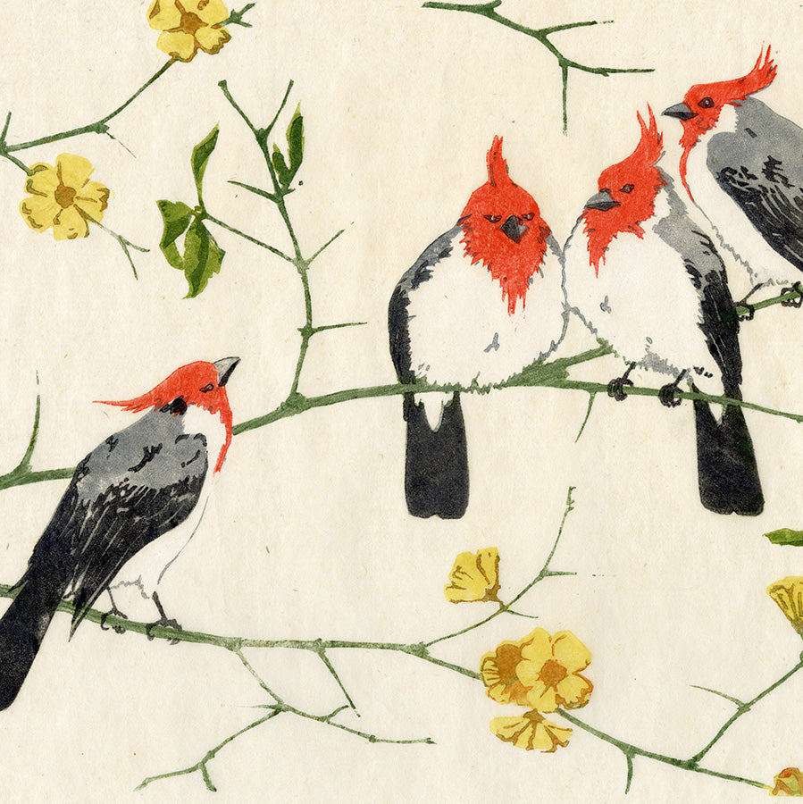 Martin Erich Philipp - Kardinale Kardinaele - Cardinals - red headed birds - color woodcut - detail