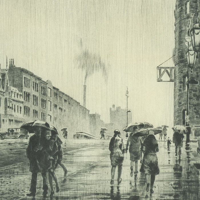 Martin Lewis - Rain on Murray Hill - greenish black ink - McCarron 75 - rainy New York - detail
