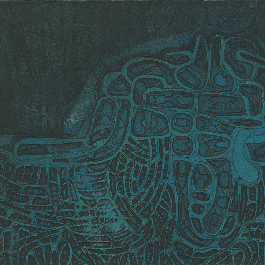 Masao Yoshida - Abstraction in Blue - title unknown - Paris - Atelier 17 - 1963 - color aquatint - detail