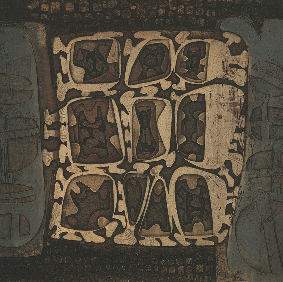 Masao Yoshida - Abstraction in Brown - title unknown - Paris - Atelier 17 - 1963 - color aquatint - detail