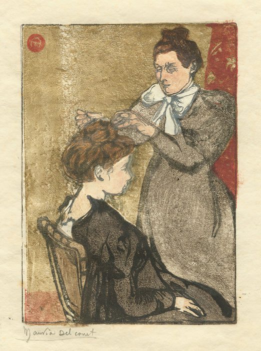 Maurice Delcourt - La Coiffure - Hair Dressing - color woodcut - hair bun