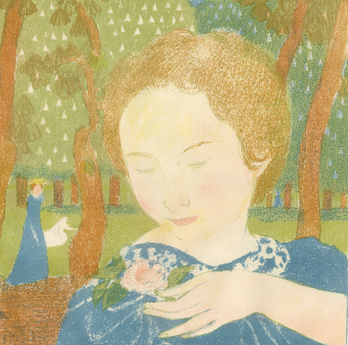 Maurice Denis - Amour - Les attitudes sont faciles et chastes - attitudes are easy and chaste - woman in blue dress in forest and flowers