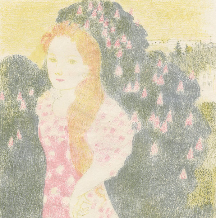 Maurice Denis - Amour - Les crepuscules ont une douceur d'ancienne peinture - dusk has the sweetness of old painting - woman with long hair and bush with flowers
