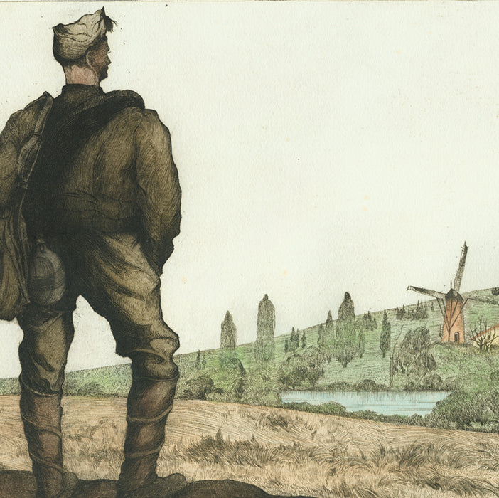 Color etching and aquatint - by LANGASKENS, Maurice - titled: Leaving the Village for Good