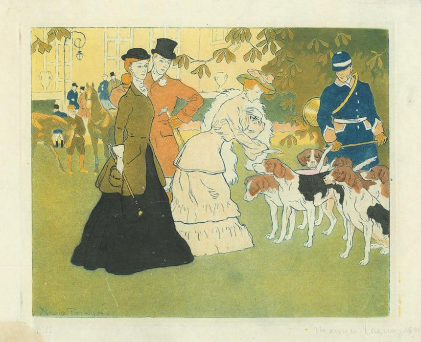 Maurice Taquoy - Le Depart pour la Chasse - departure for hunting - dogs - elegant recreation- color aquatint