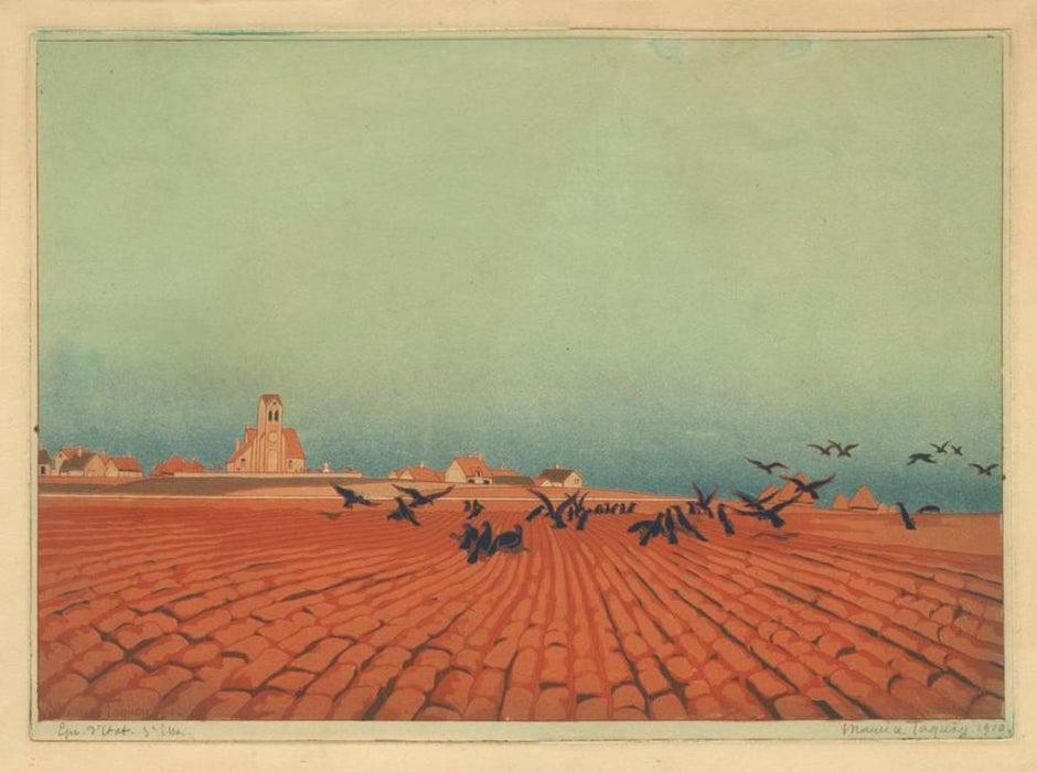 Maurice Taquoy - Les Corbeaux - The Ravens - village and empty field - color aquatint soft-ground etching