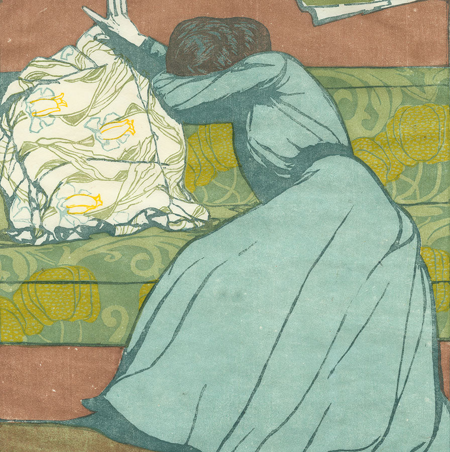 Maximilian Kurzweil - Der Polster - The Cushion - The Upholstery - Art Nouveau - color woodcut