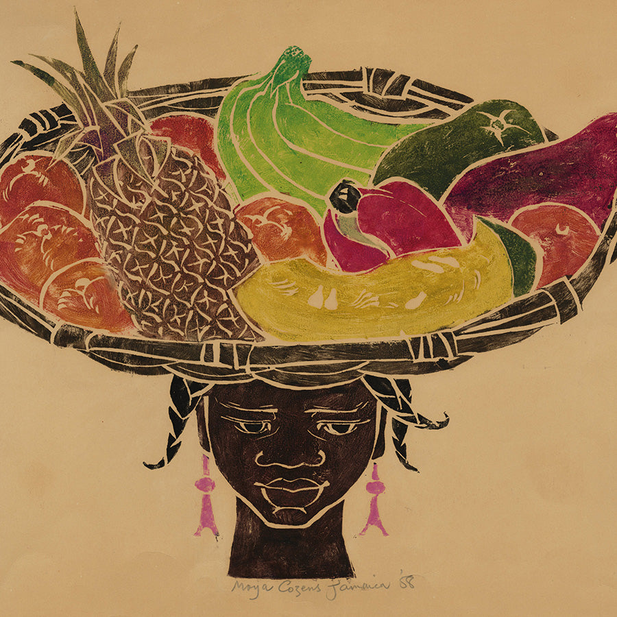 Maya Cozens - Jamaica 1958 - White Line Color Woodcut - Fruitseller Head Basket - detail