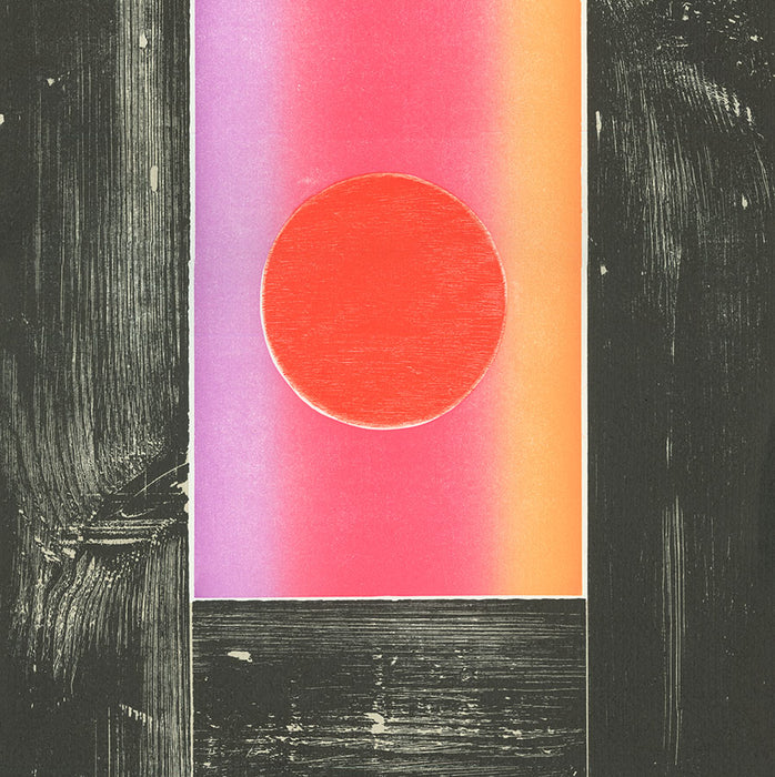 Michael Rothenstein (1908-1993) - Sun Rising  - Veiled Sun - color linoleum and woodcut - sun and moons series - found wood