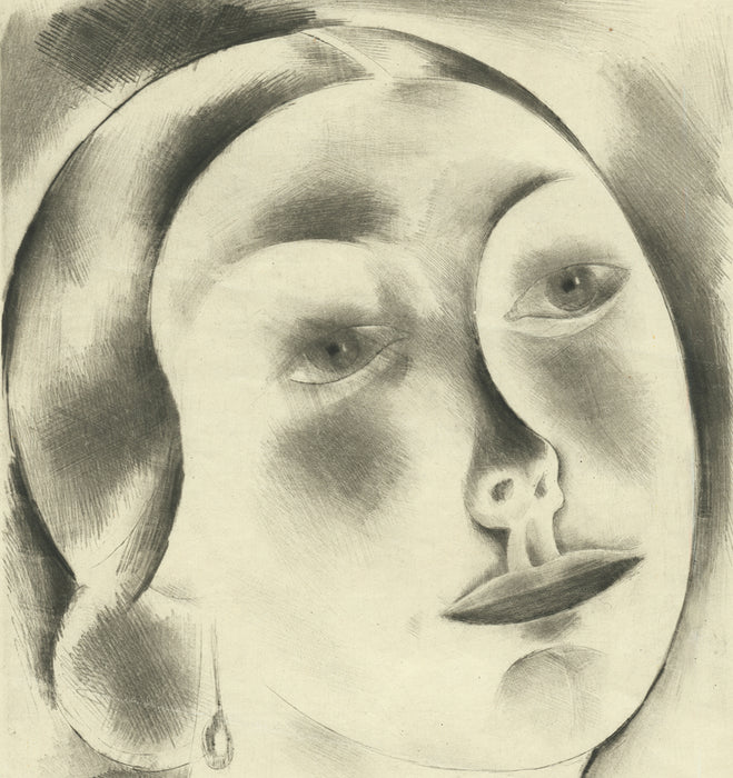 Drypoint - by FINGESTEN, Michel - titled: Woman's Face