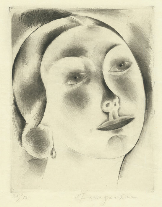 Michel Fingesten - Woman's Head - drypoint