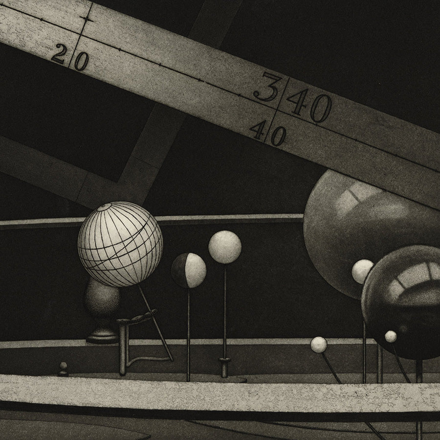 Nicholas PHILLIPS - Orrery - monochromatic aquatint - mezzotint - planets - detail1