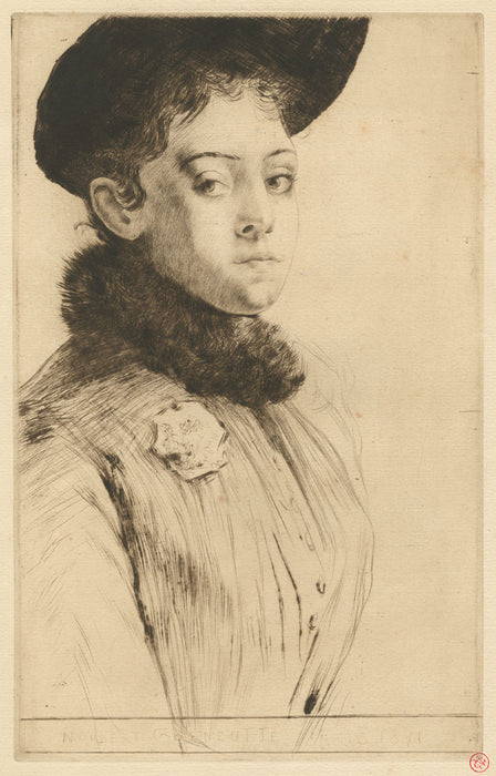Drypoint - by GOENEUTTE, Norbert - titled: Maud