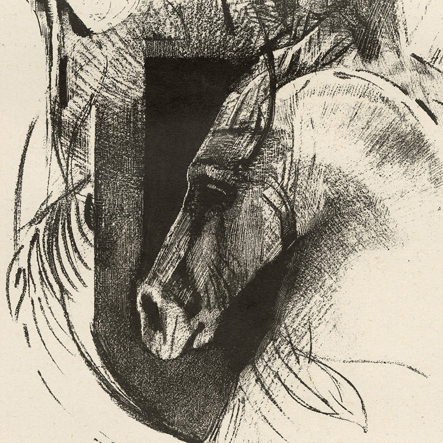 Odilon Redon - Le Coursier - The Charger - lithograph of horse head - detail