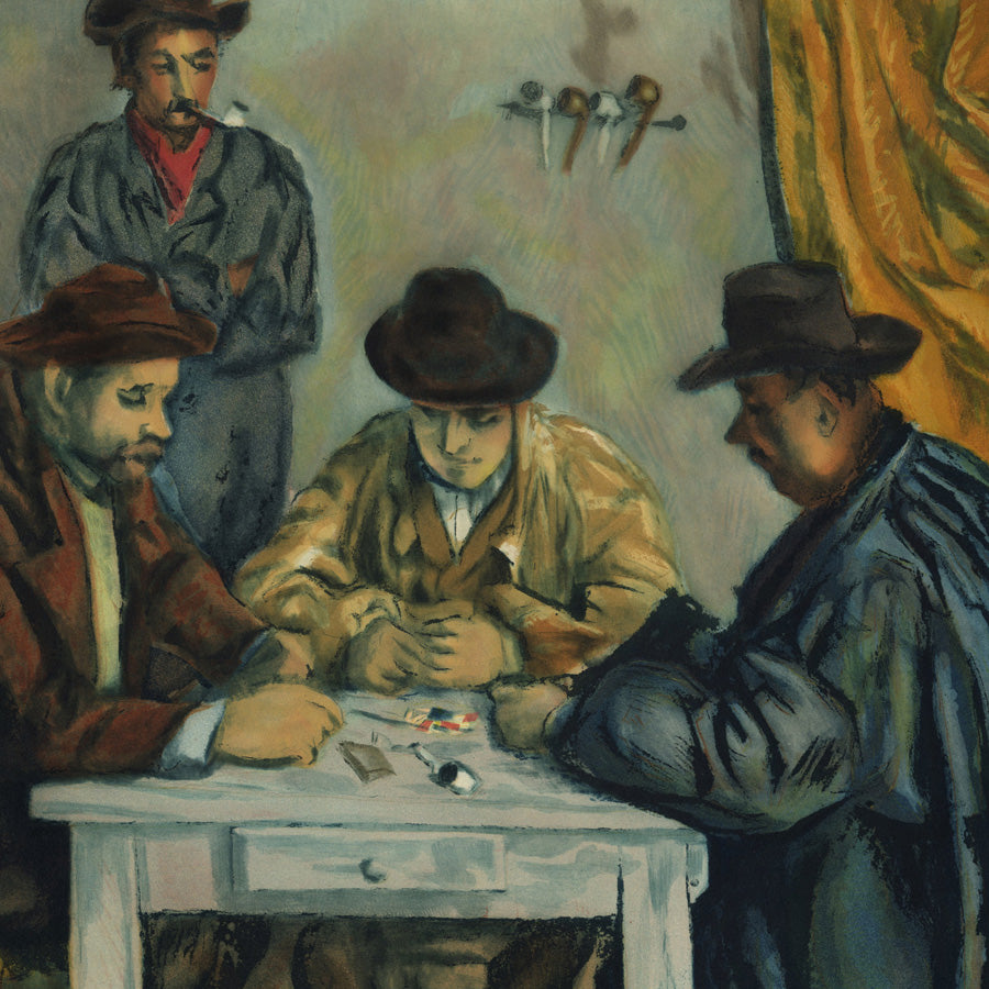 Paul Cezanne After The Card Players - Apres Les Joueurs de cartes - color etching aquatint Jacques Villon detail