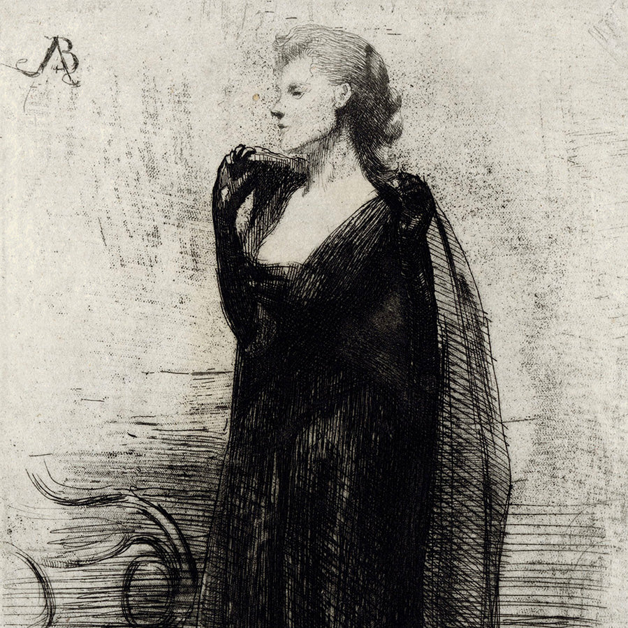 Paul Albert Besnard - La Dame en Noir - Lade in Black Evening Gown - cape draped over the shoulder - detail
